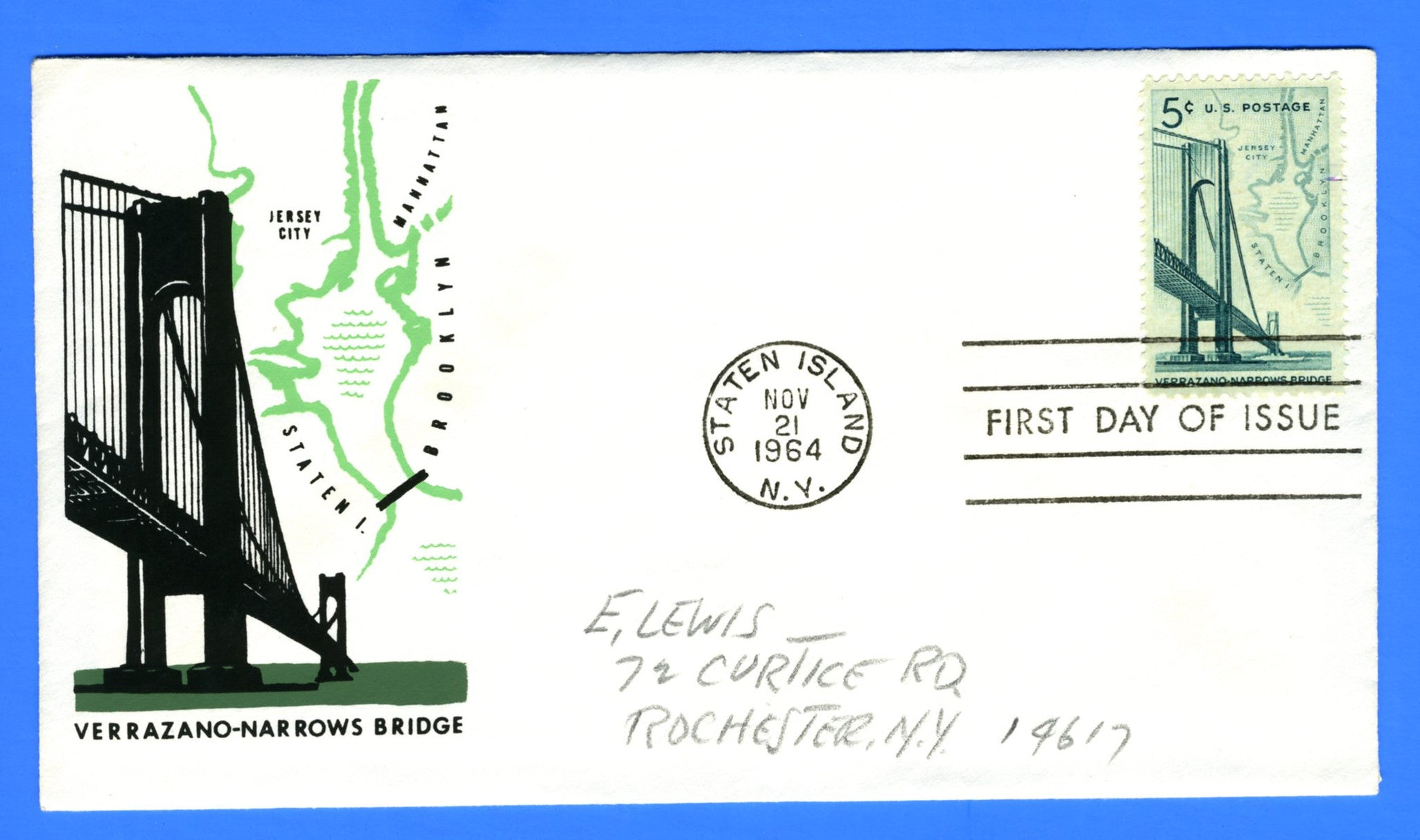 Scott 1258 5c Verrazano Narrows Bridge Silk Screen First Day Cover by Eric Lewis - Rare - Only Twelve Known Copies