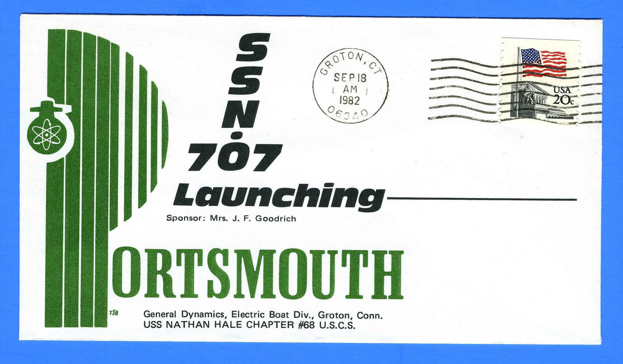 USS Portsmouth SSN-707 Launched September 18, 1982 - Cachet by Nathan Hale Chapter No. 68 USCS