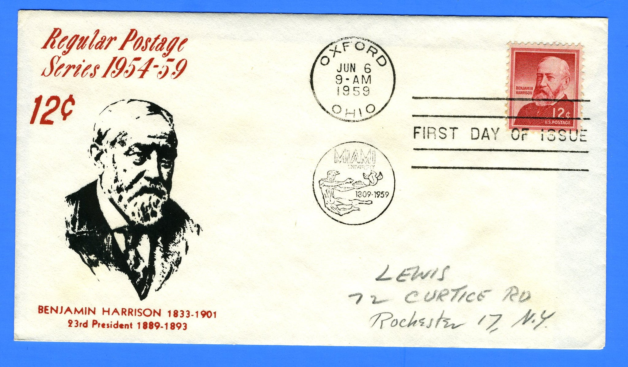 Scott 1045 12c Benjamin Harrison Silk Screen First Day Cover by Eric Lewis - Very Rare - Only Seven Known Copies