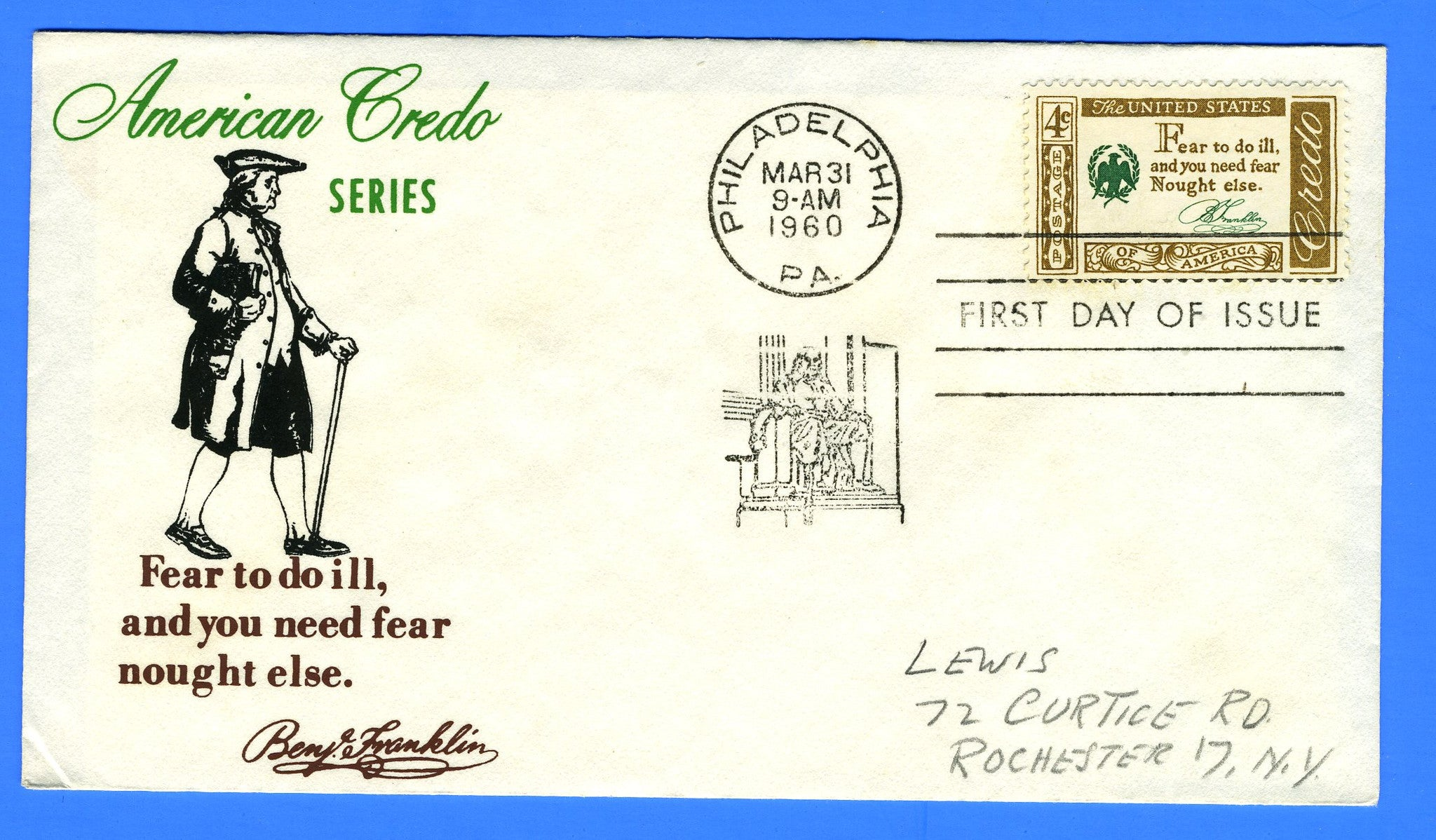 Scott 1140 Credo Benjamin Franklin Silk Screen First Day Cover by Eric Lewis - Very Rare - Only Six Known Copies