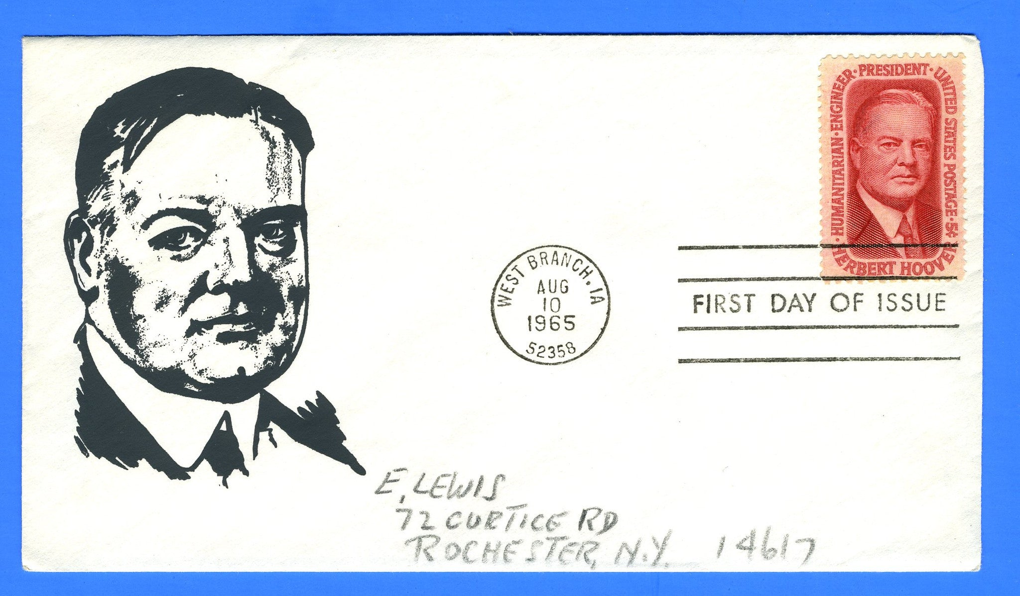 Scott 1269 5c Herbert Hoover Silk Screen First Day Cover by Eric Lewis - Very Rare - Only Fourteen Known Copies
