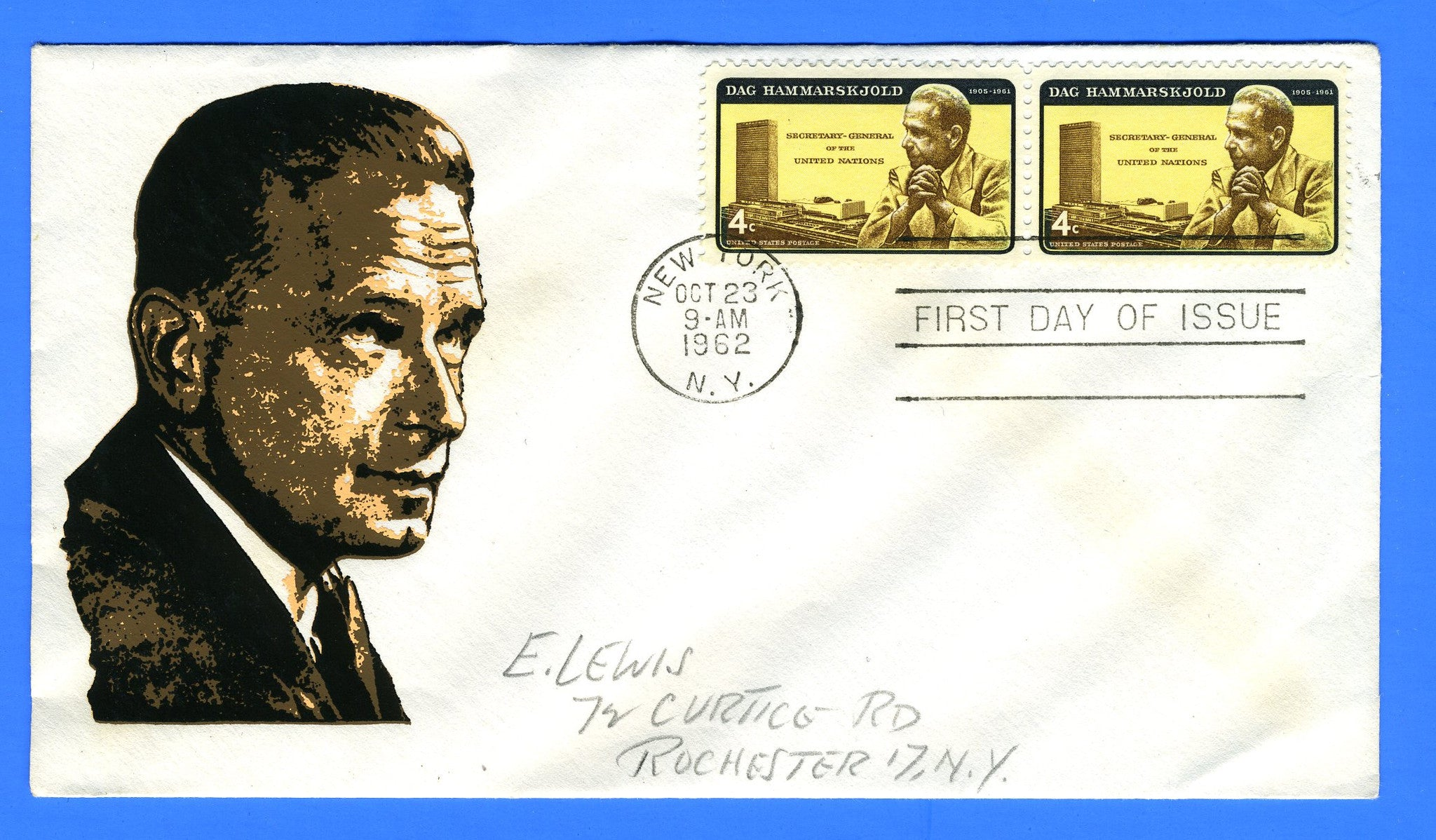 Scott 1203 5c Dag Hammarskjold Silk Screen First Day Cover by Eric Lewis - Very Rare - Only Twelve Known Copies