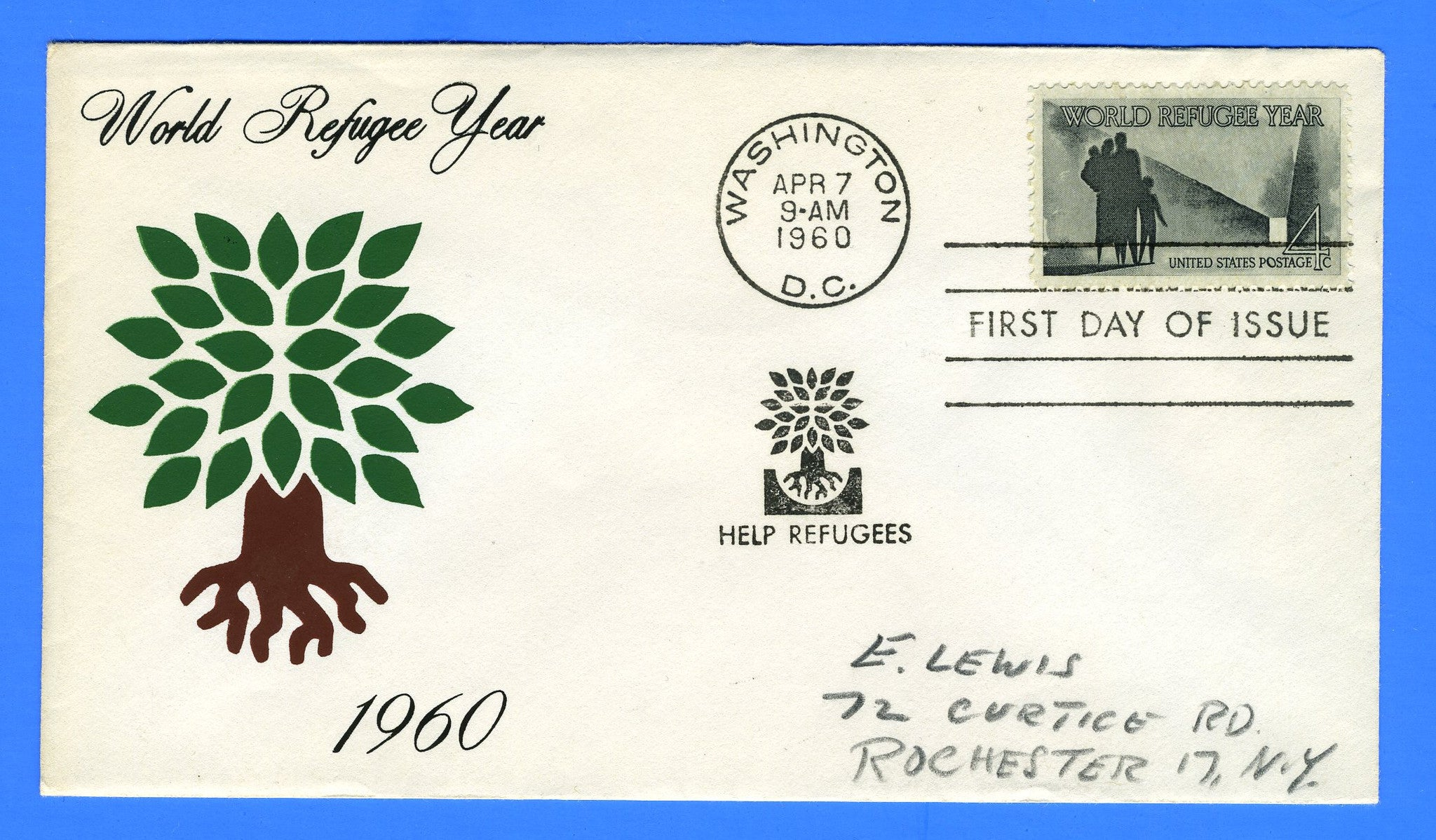 Scott 1149 4c World Refugee Year Silk Screen First Day Cover by Eric Lewis - Very Rare - Only Six Known Copies