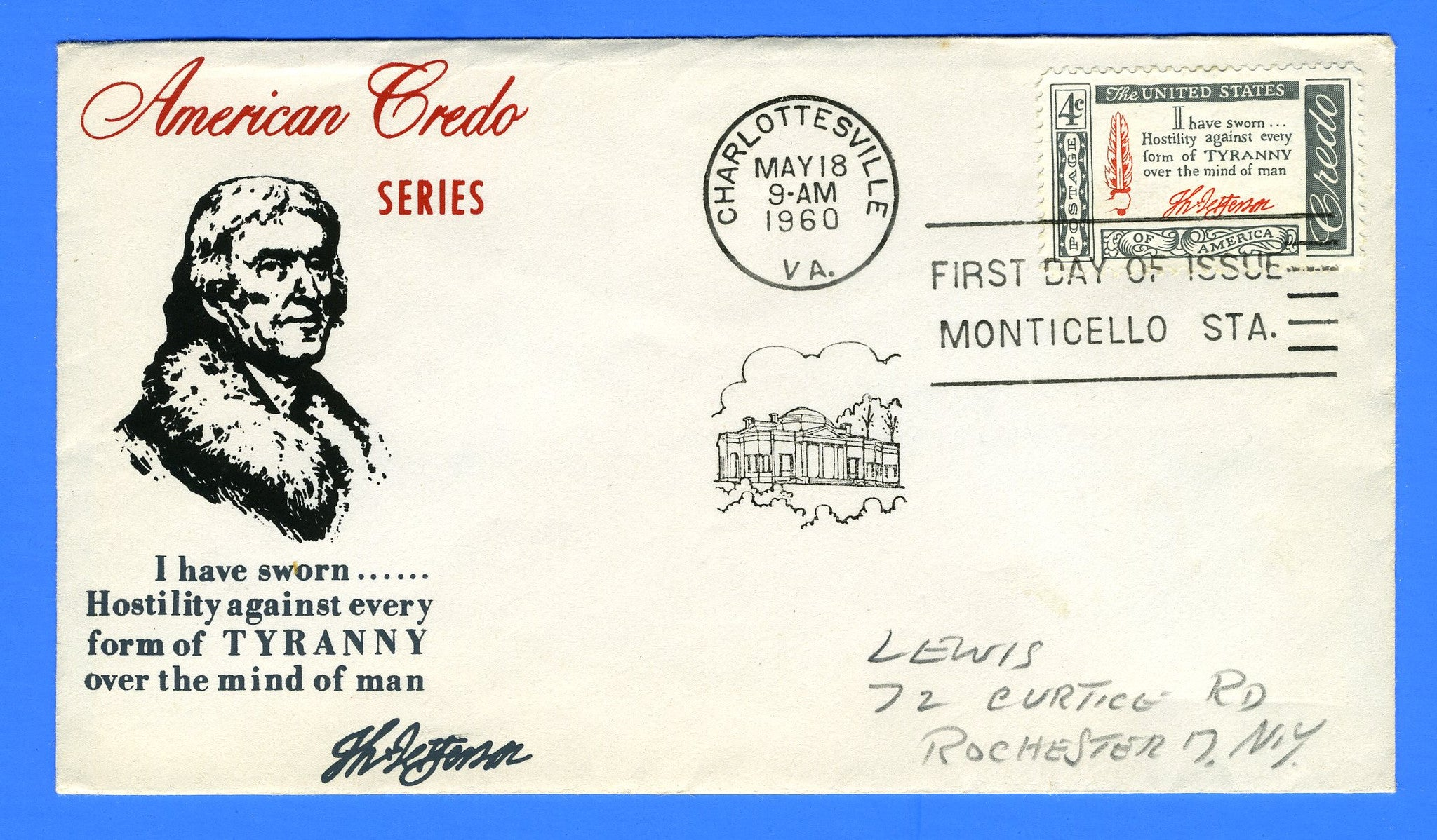 Scott 1141 Credo Thomas Jefferson Silk Screen First Day Cover by Eric Lewis - Very Rare - Only Five Known Copies