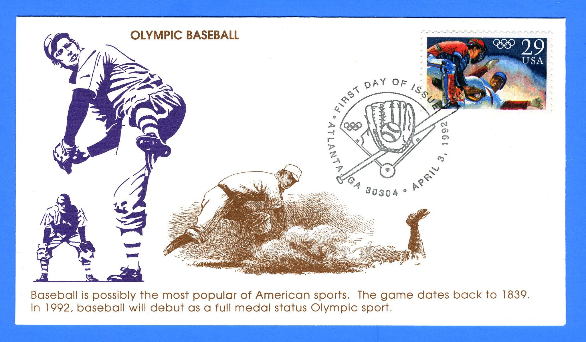 Scott 2619 29c Olympic Baseball First Day Cover by KMC Venture