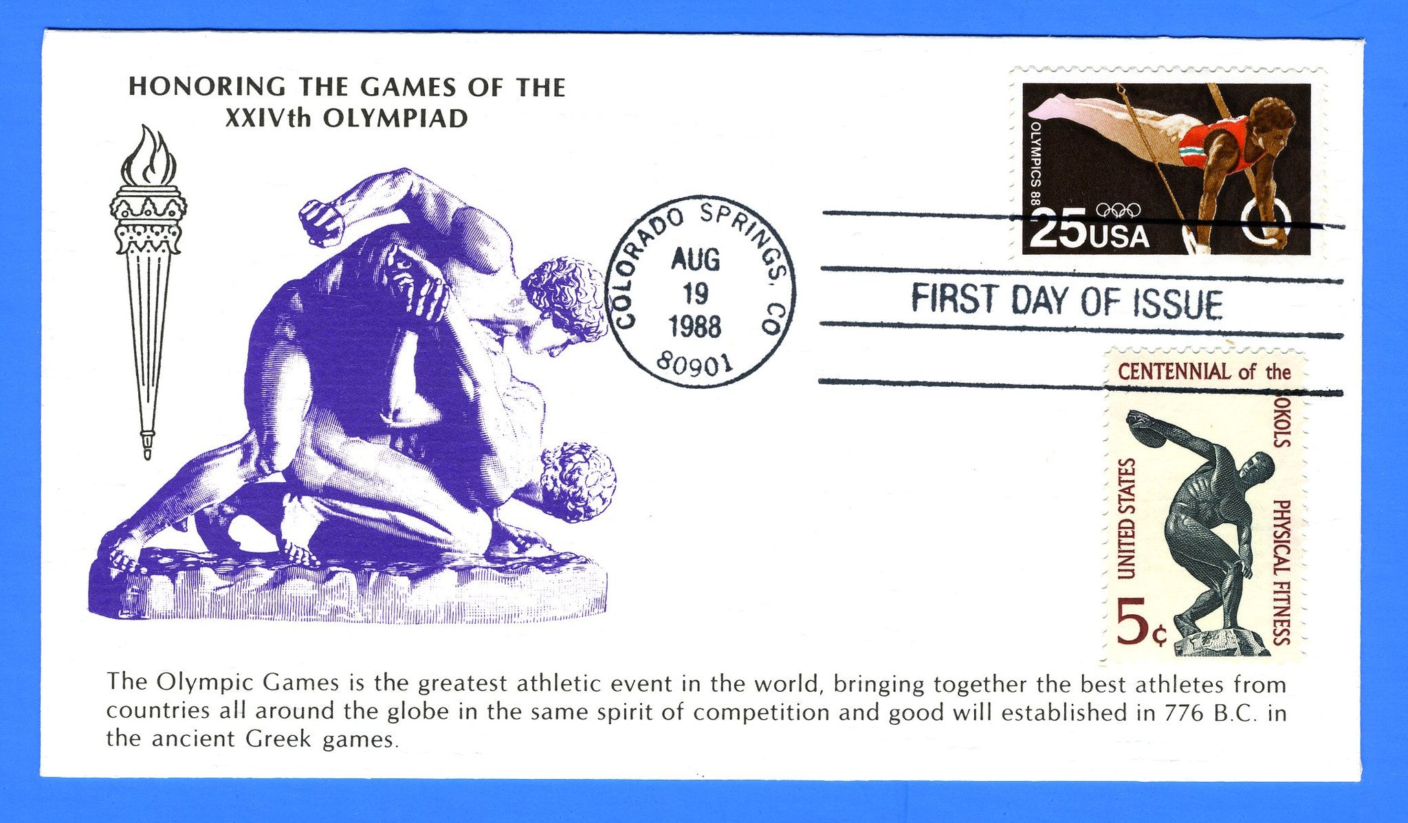 Scott 2380 25c Summer Olympics 1988 Combo First Day Cover KMC Venture