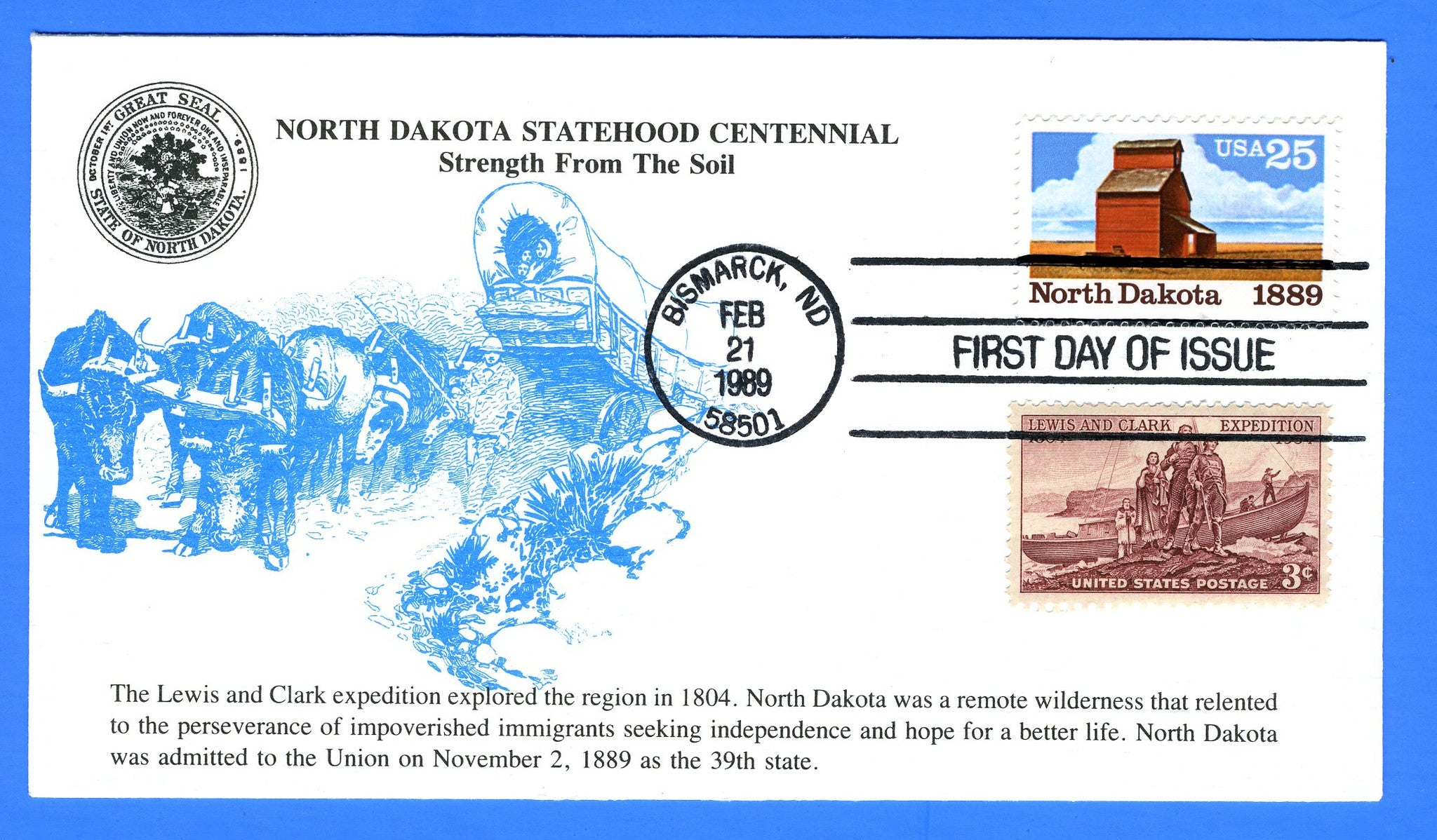 Scott 2403 25c North Dakota Statehood Combo FDC by KMC Venture