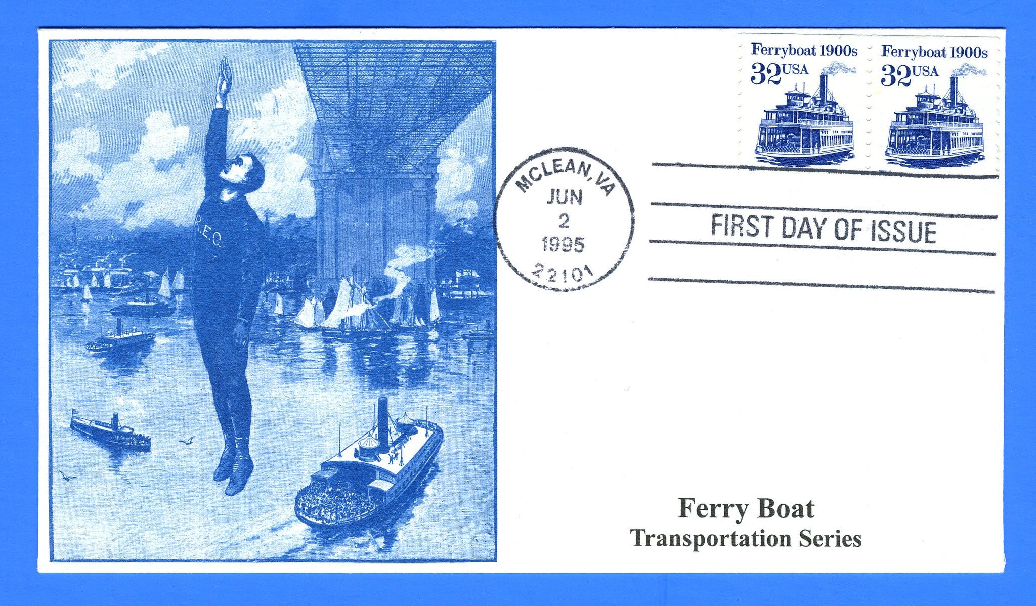Scott 2466 32c Ferryboat, Transportation Issue First Day Cover by S & T Cachets