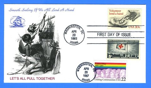 Scott 2039 20c Lend A Hand & Scott 2275 22c United Way Dual Issue First Day Cover by KMC Venture