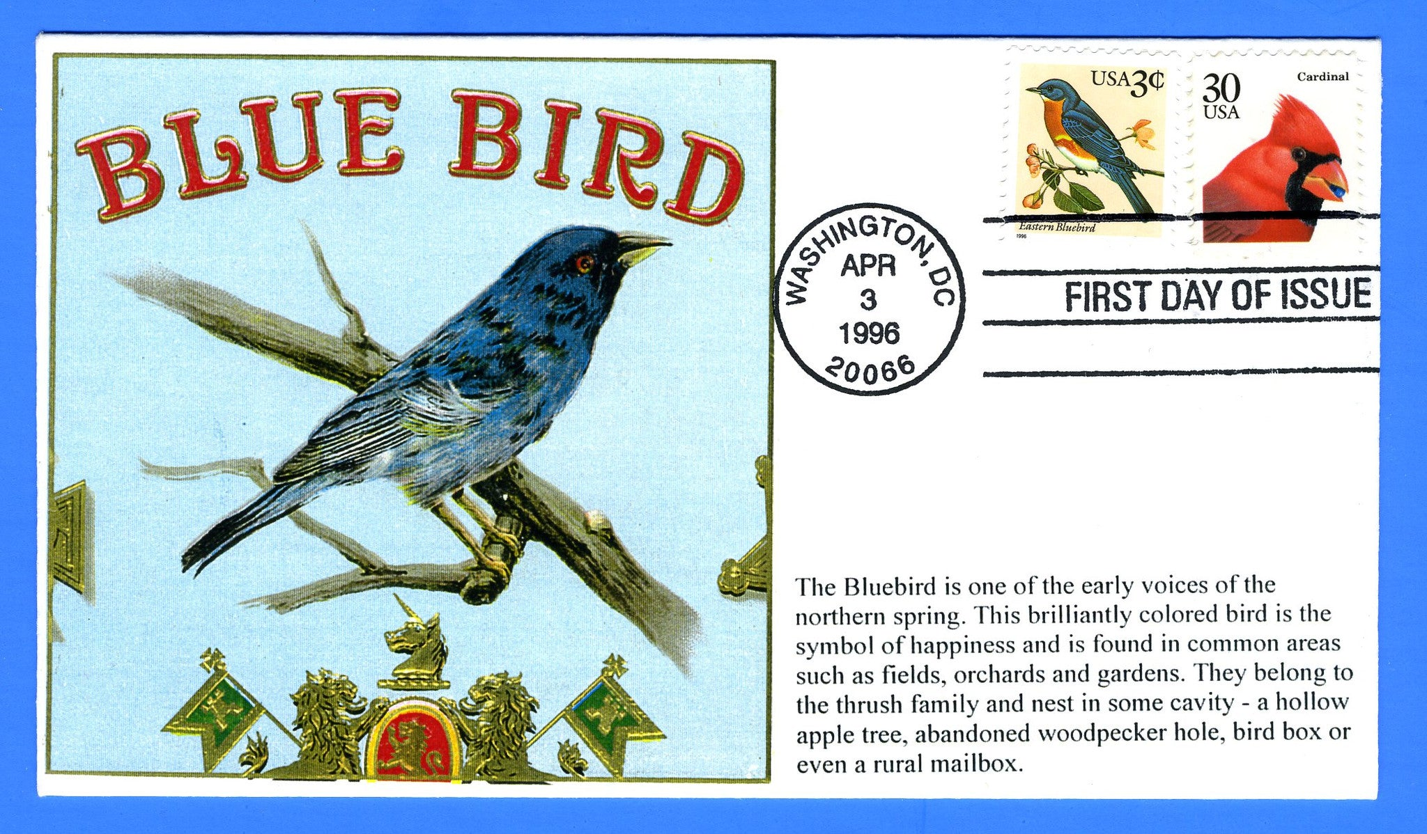 Scott 3033 3c Eastern Bluebird Combo First Day Cover by S & T Cachets