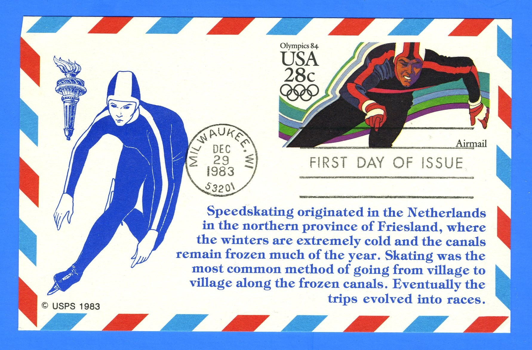 Scott UXC21 28c Olympic Speed Skating Air Mail FDOI Postal Card by KMC Venture