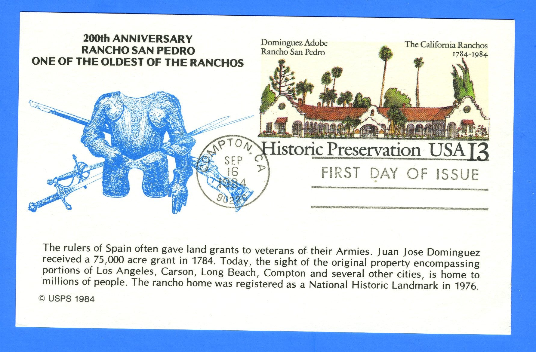 Scott UX104 13c Rancho San Pedro First Day of Issue Postal Card by KMC Venture