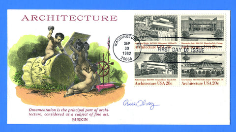 Scott 2022a 20c Architecture Hand Colored First Day Cover by KMC Venture