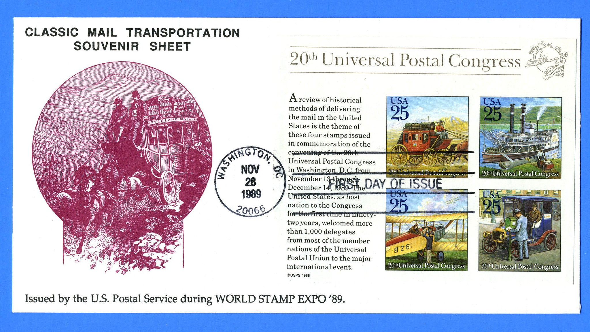 Scott 2438 25c Classic Mail Transportation Souvenir Sheet First Day Cover by KMC Venture