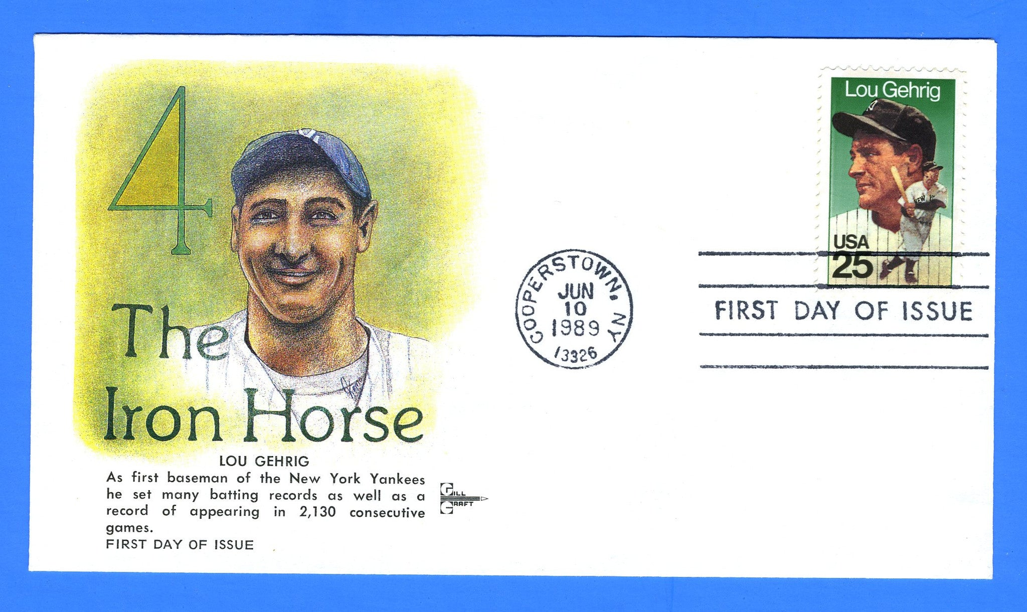 Scott 2417 25c Lou Gehrig First Day Cover by Gill Craft