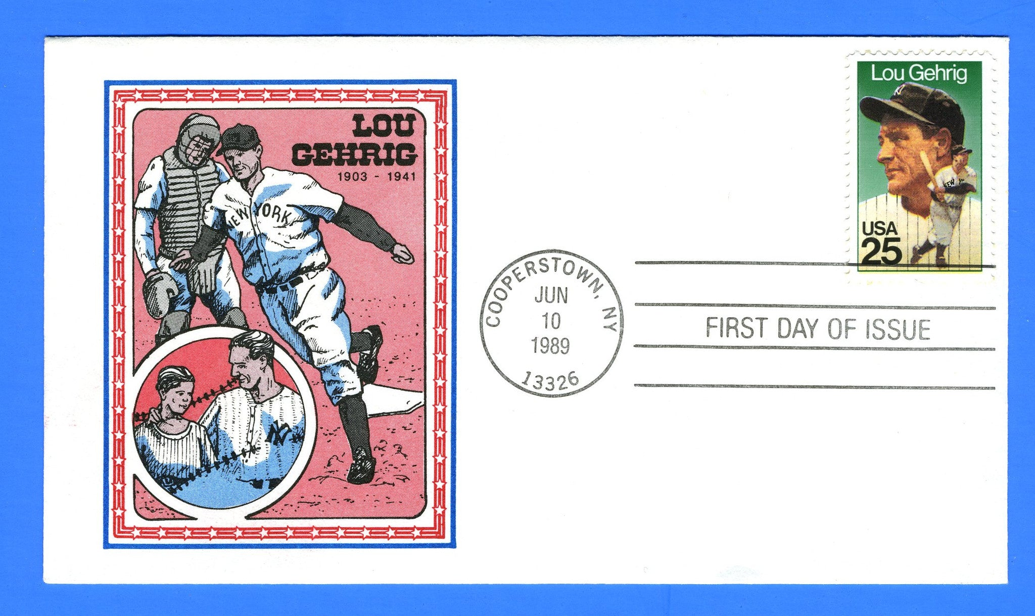 Scott 2417 25c Lou Gehrig First Day Cover by Panda Cachets