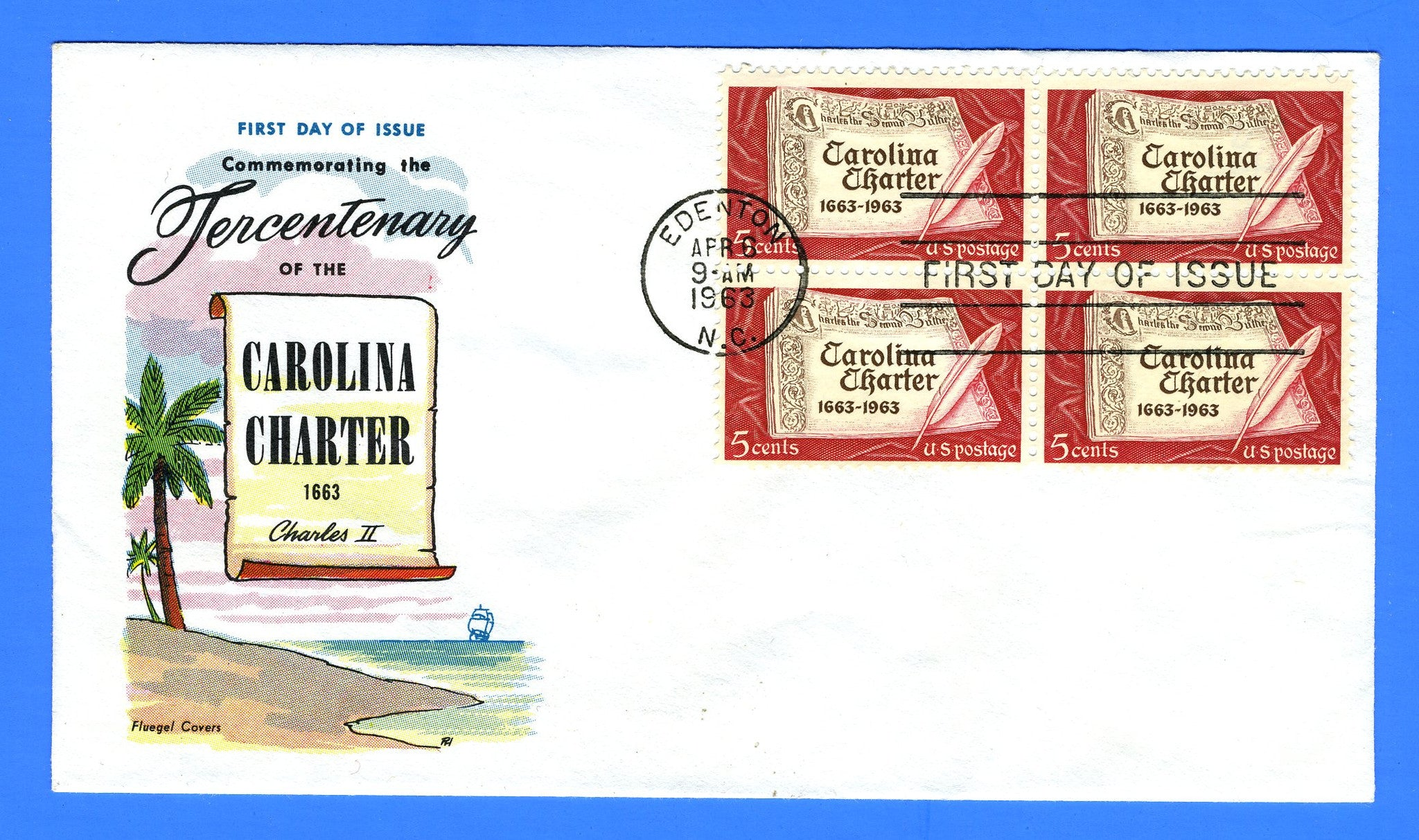 Scott 1230 5c Carolina Charter First Day Cover by Fluegel - Block of 4