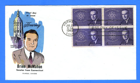 Scott 1200 4c Brien McMahon Atomic Energy Act First Day Cover by Fluegel Block of 4