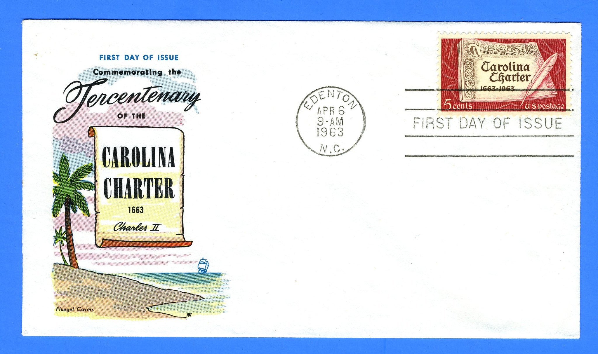 Scott 1230 5c Carolina Charter First Day Cover by Fluegel Covers
