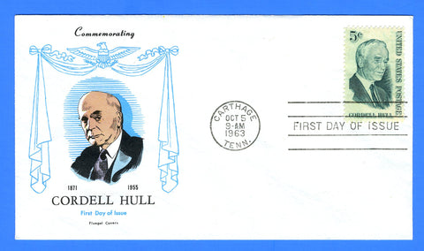 Scott 1235 5c Cordell Hull First Day Cover by Fluegel Covers
