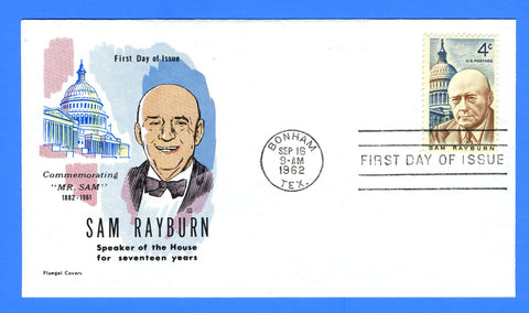 Scott 1202 4c Sam Rayburn First Day Cover by Fluegel Covers