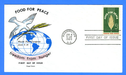 Scott 1231 5c Food for Peace First Day Cover by Fluegel Covers