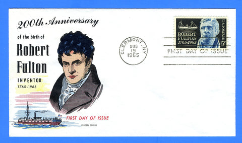 Scott 1270 Robert Fulton First Day Cover by Fluegel Covers