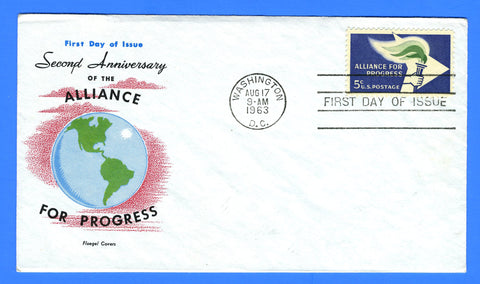 Scott 1234 5c Alliance for Progress First Day Cover by Fluegel Covers