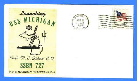 USS Michigan SSBN-727 Launched April 26, 1980 - USS Michigan Chapter USCS Cachet No. 29