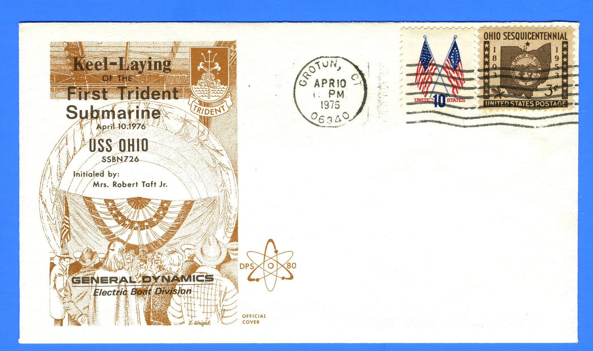 USS Ohio SSBN-726 Keel Laying April 10, 1975 - Cachet by DPS No. 80 (Dynamic Philatelic Society)