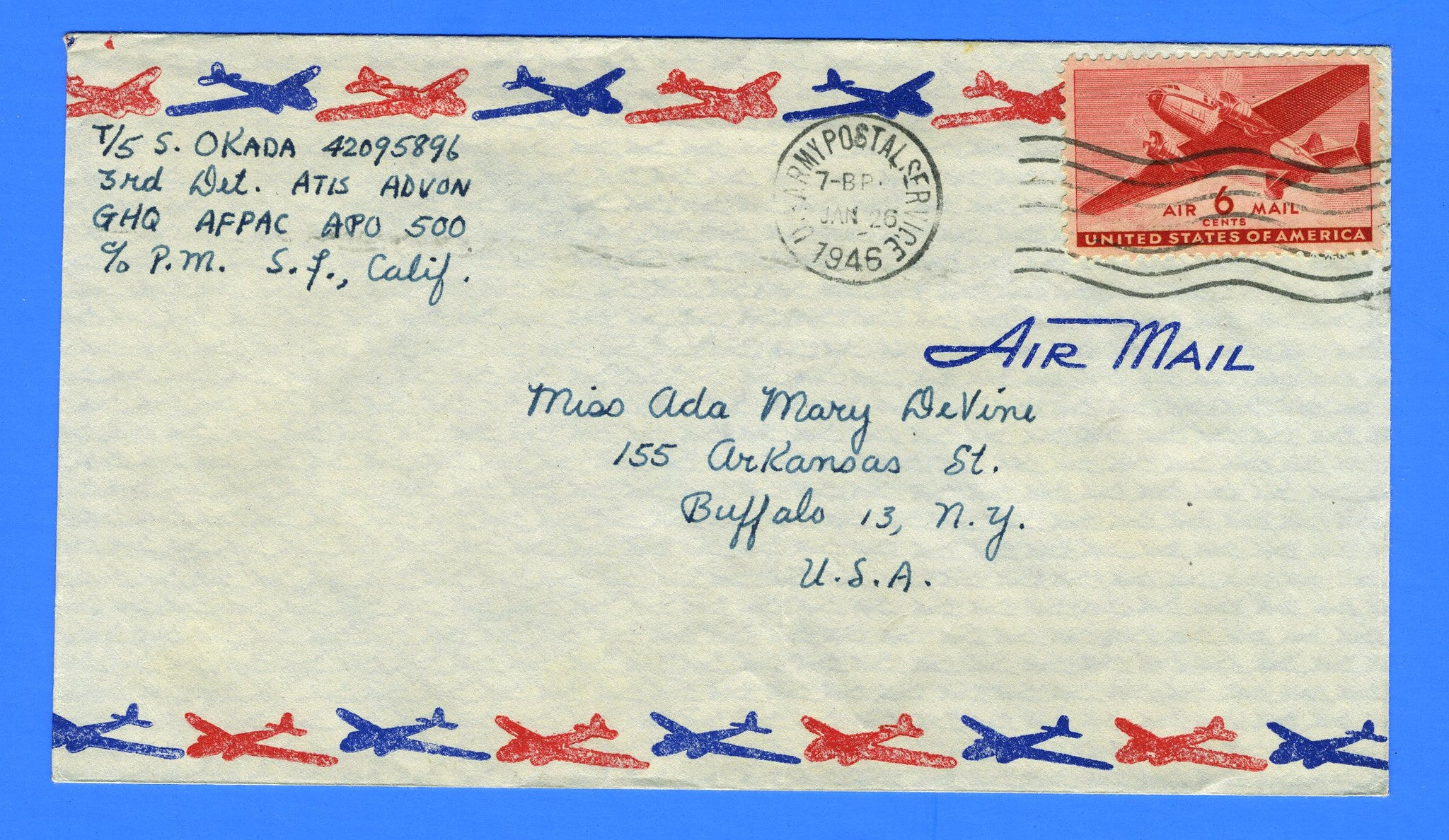 Afpac pour soldier's mail apo 500 tokyo, japan january 26, 1946 | great
