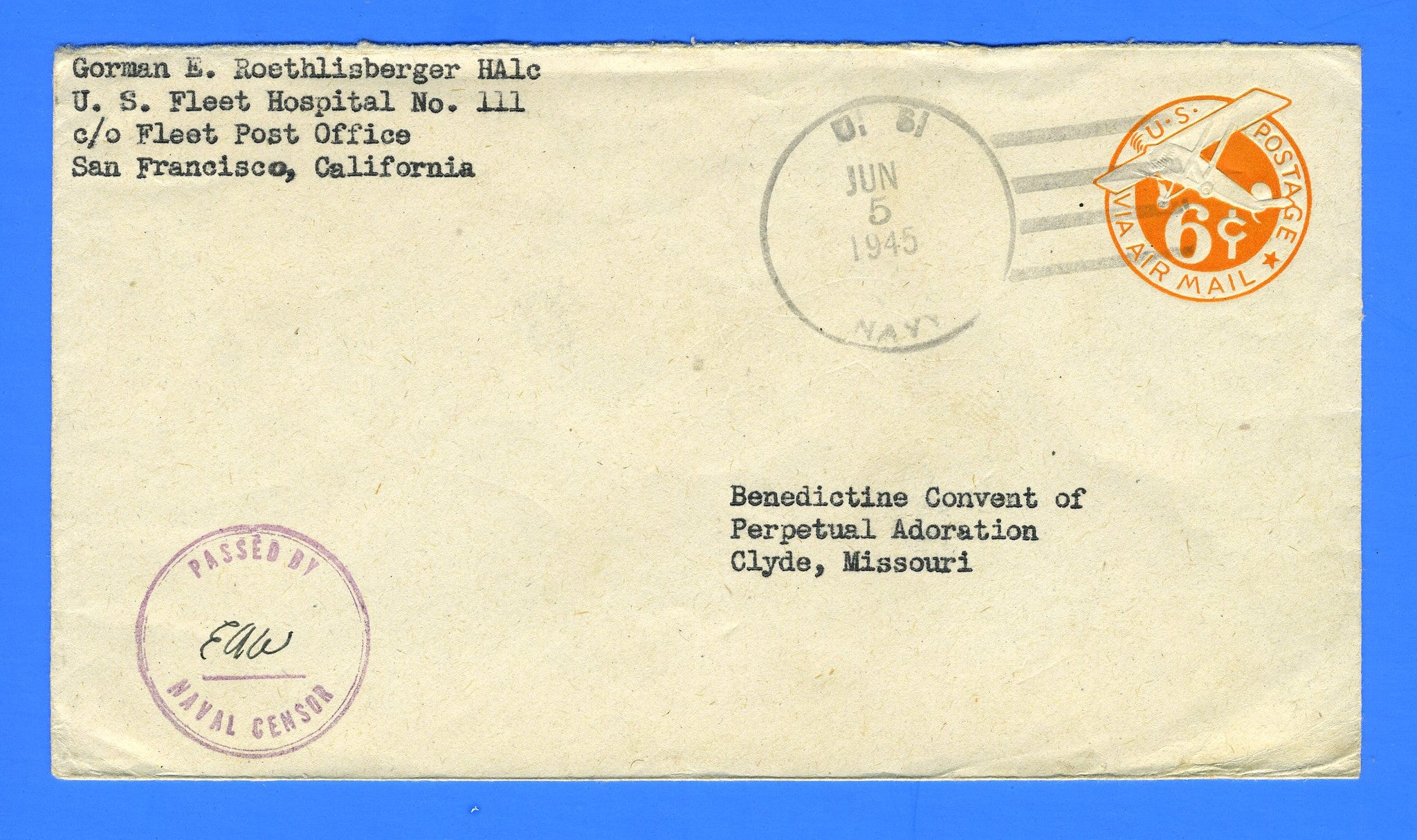 Sailor's Censored Mail Navy Hospital No. 111 June 5, 1945