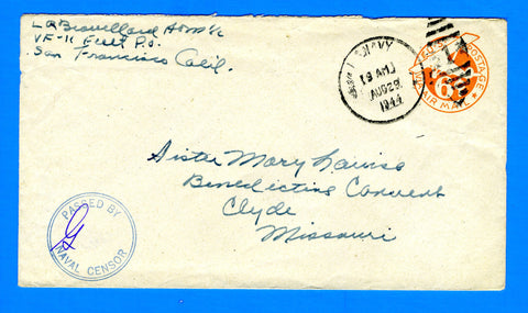 Navy Fighter Squadron VF-11 Censored Mail August 29, 1944
