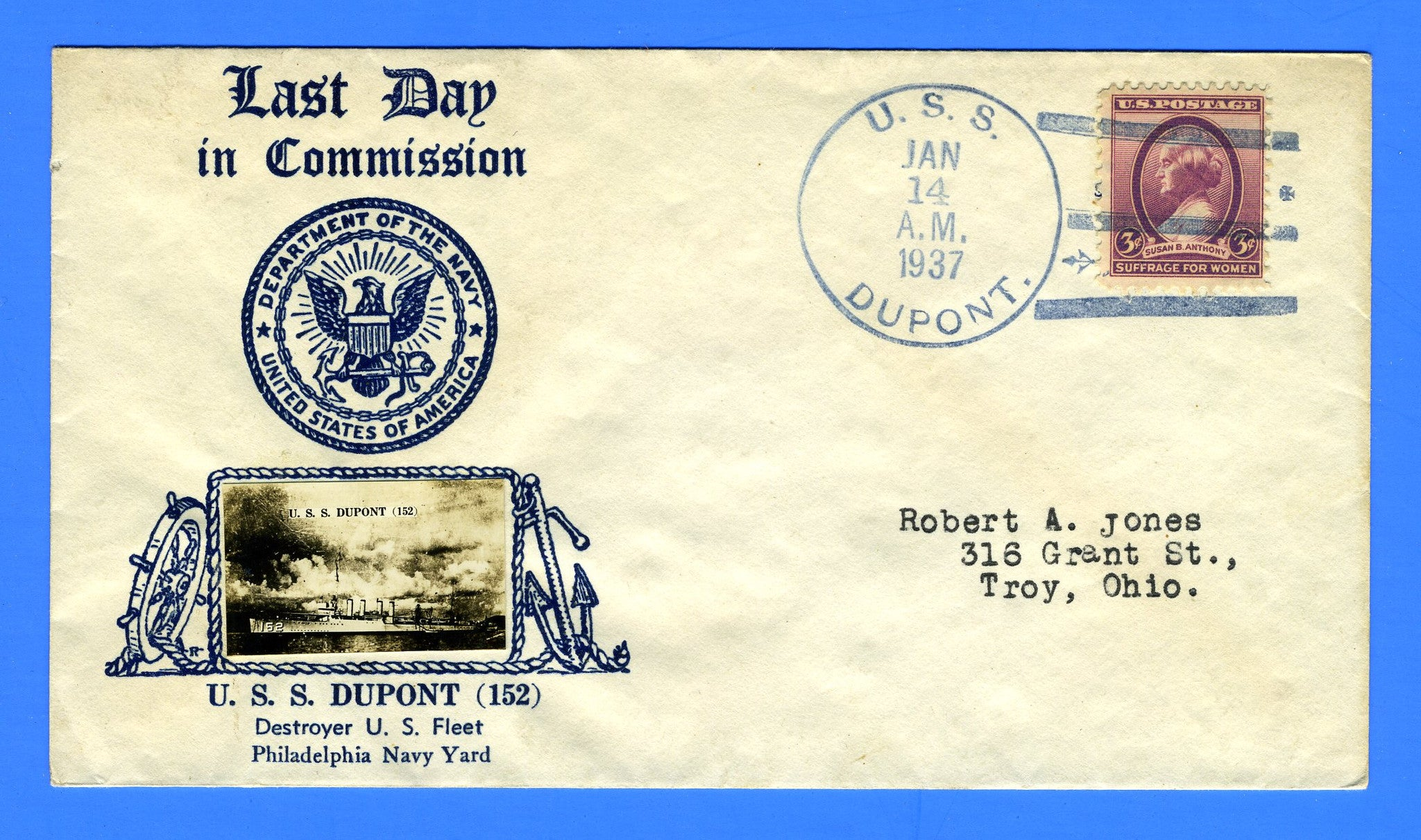 USS Dupont DD-152 Decommissioned January 14, 1937 - Crosby Cachet