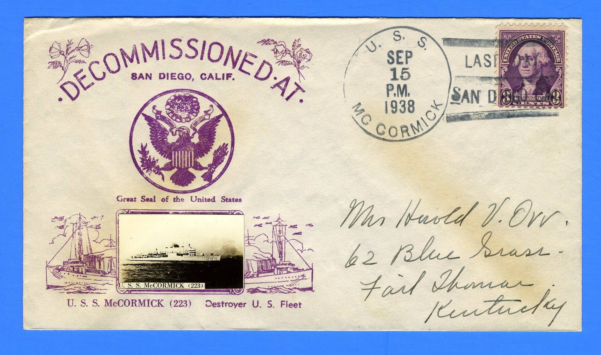 USS McCormick DD-223 Decommissioned September 15, 1938 - Crosby Cachet