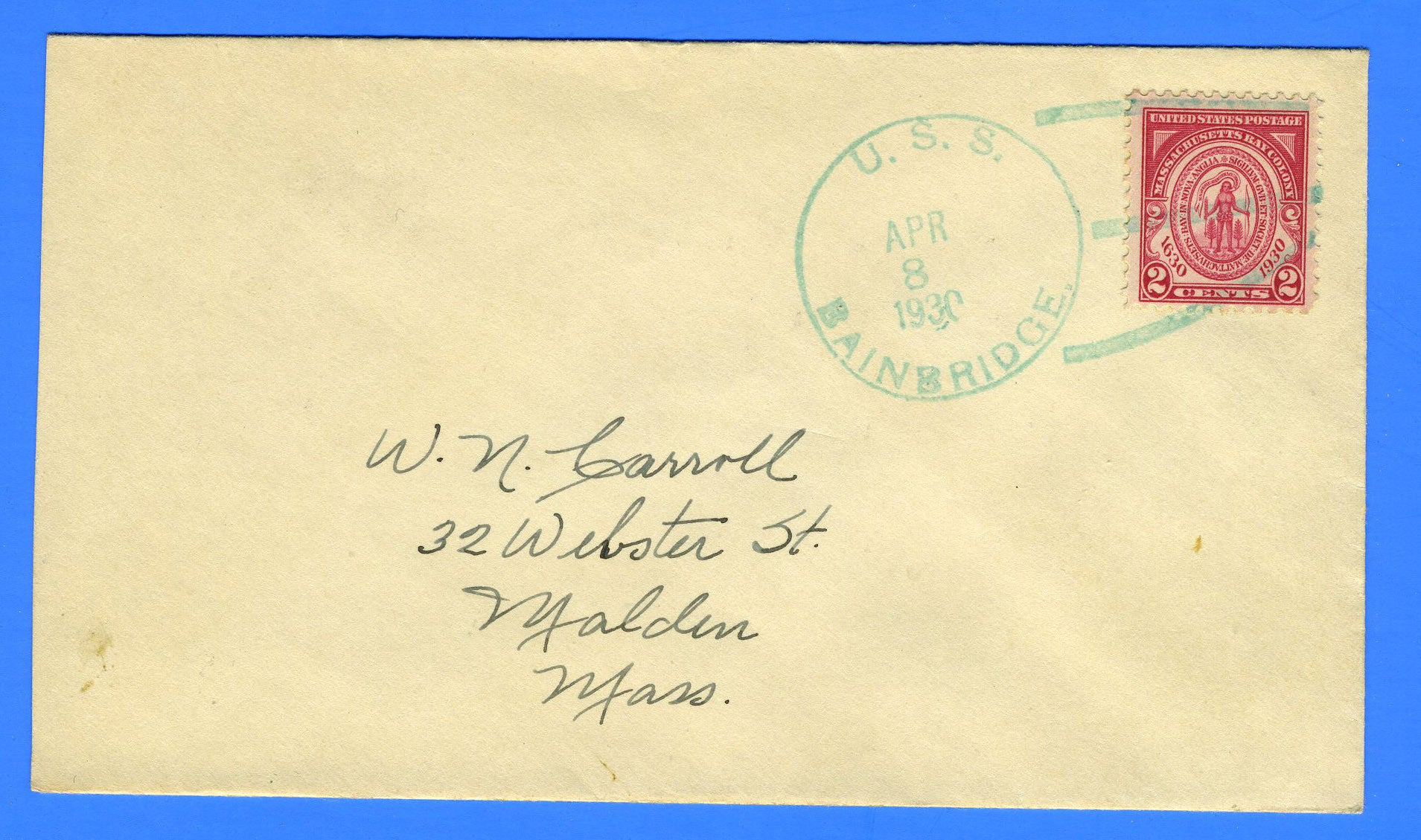 USS Bainbridge DD-246 April 8, 1930 - Scarce 3s (C) Cancel