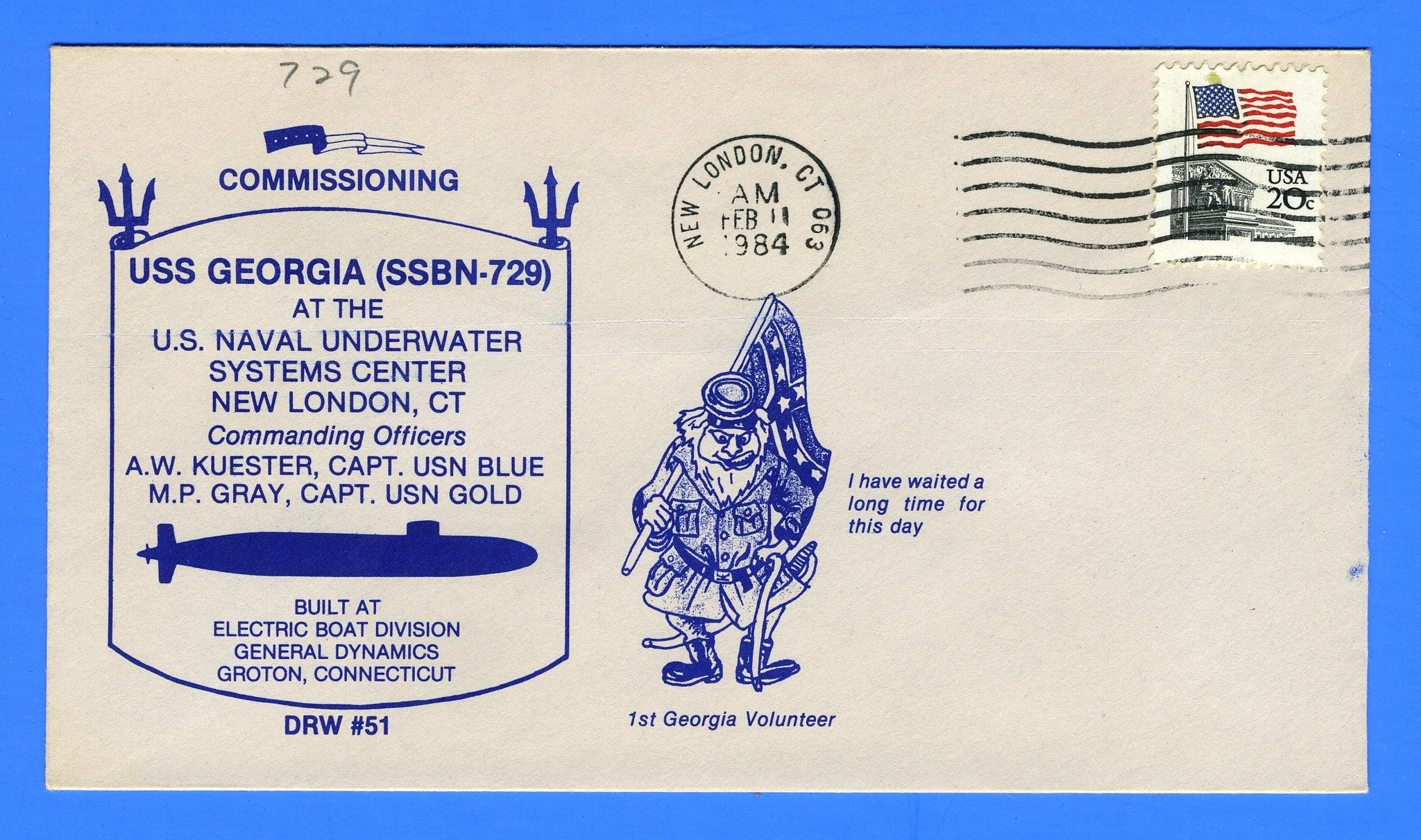 USS Georgia SSBN-729 Commissioning February 11, 1984 - Cachet by DRW No. 51