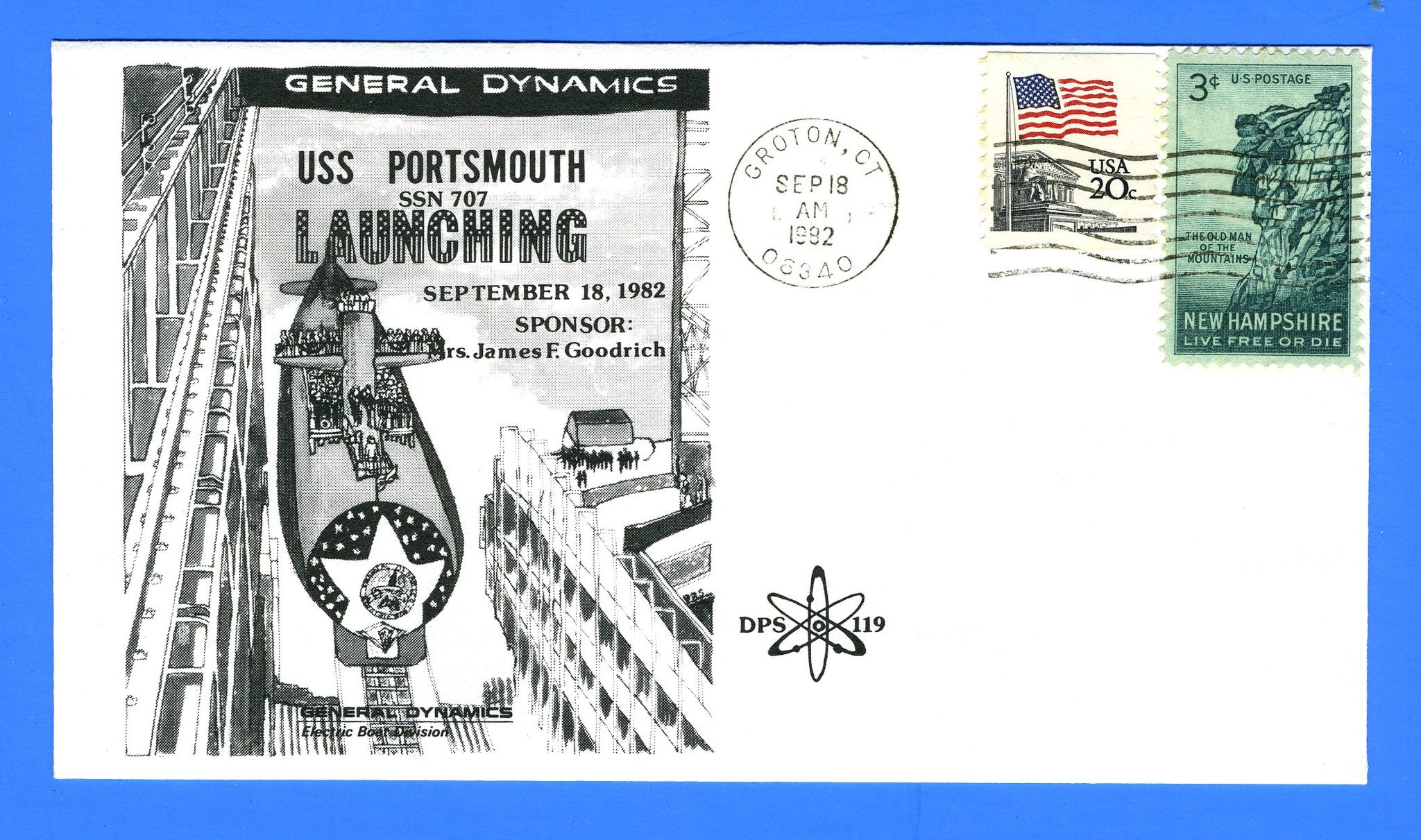 USS Portsmouth SSN-707 Launching September 18, 1982 - Cachet by DPS No. 119 (Dynamic Philatelic Society)