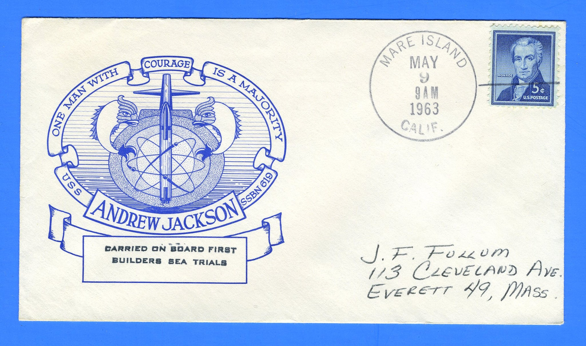 USS Andrew Jackson SSBN-619 First Builders Sea Trials May 9, 1963