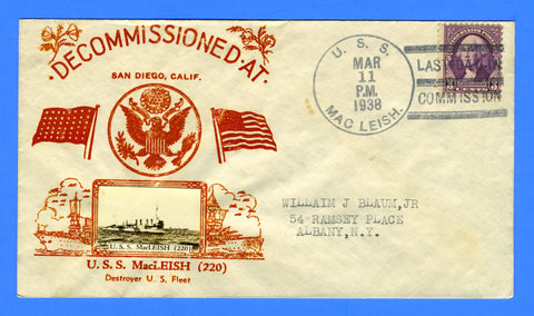 USS MacLeish DD-220 Last Day in Commission March 11, 1938 - Crosby Photo Cachet