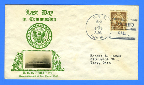 USS Philip DD-76 (Famous Fifty) Last Day Postal Service April 1, 1937 - Crosby Cachet