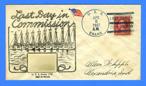 USS Evans DD-78 (Famous Fifty) Last Day in Commission April 5, 1937 - Crosby Photo Cachet