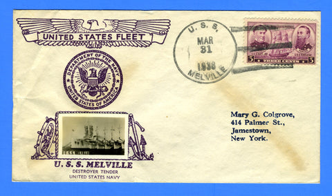 USS Melville AD-2 March 31, 1938 - Crosby Cachet