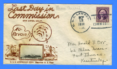 USS Lawrence DD-250 Last Day in Commission September 13, 1938 - Crosby Cachet