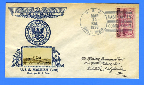 USS MacLeish DD-220 Last Day in Commission March 11, 1938 - Crosby Cachet