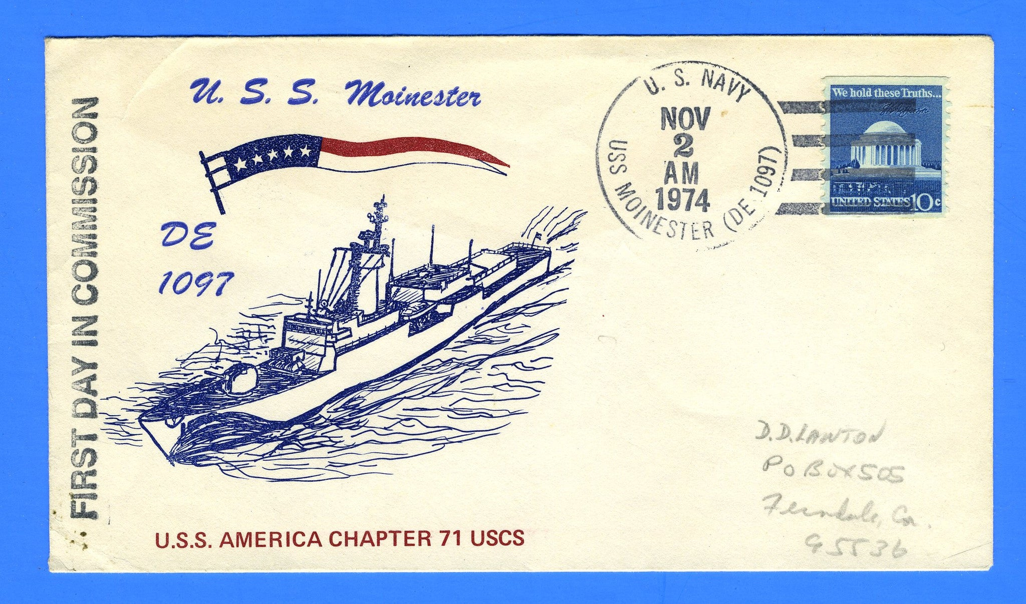 USS Moinester DE-1097 Commissioned November 2, 1974