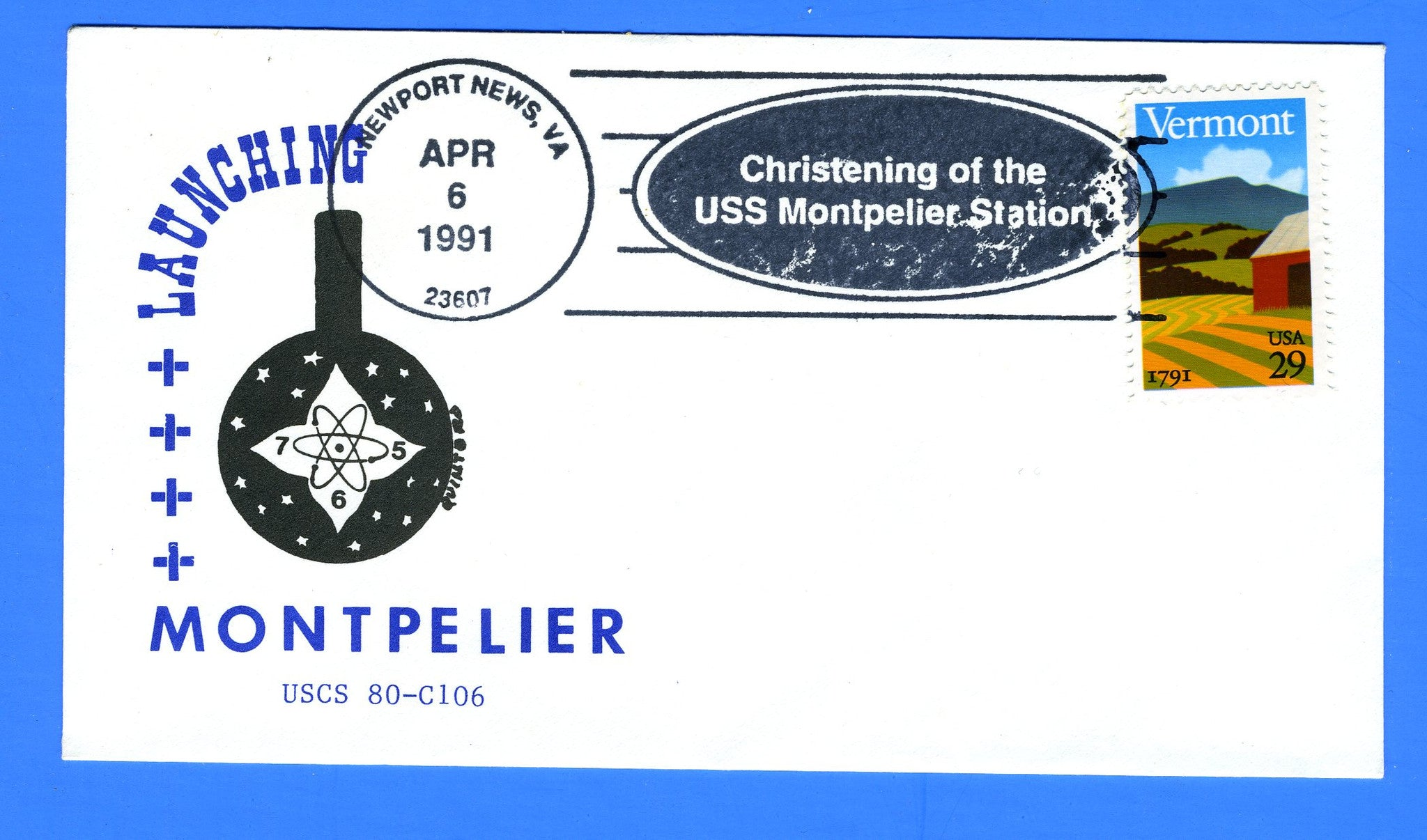 USS Montpelier SSN-765 Launched & Christened April 6, 1991