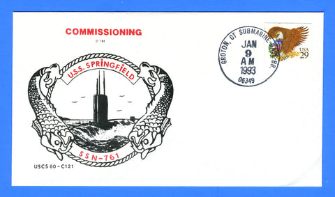 USS Springfield SSN-761 Commissioning January 9, 1993 - Cachet by USS Michigan Chapter 80, USCS Cachet No. 121