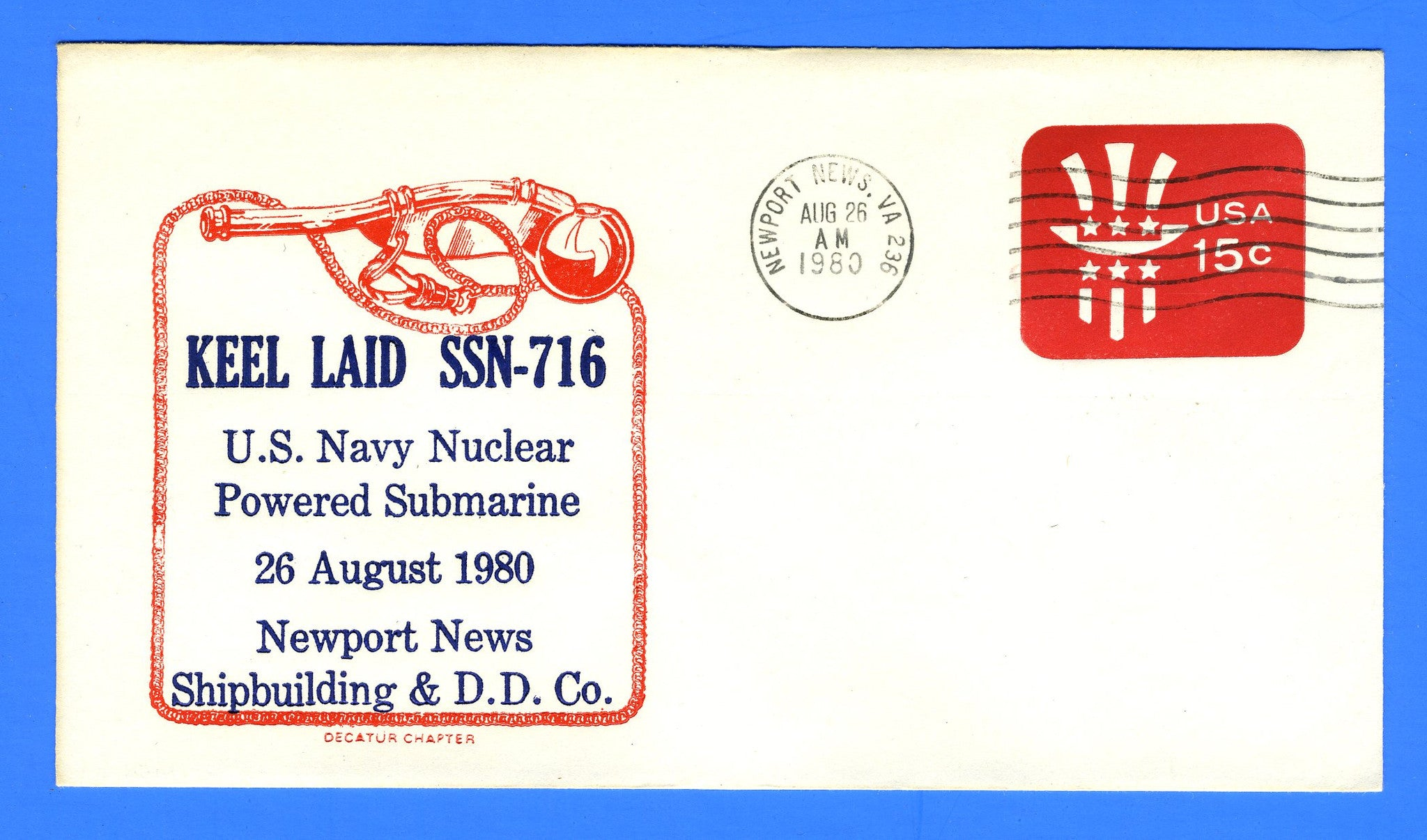 USS Salt Lake City SSN-716 Keel Laid August 26, 1980 - Cachet by Decatur Chapter No. 4 USCS