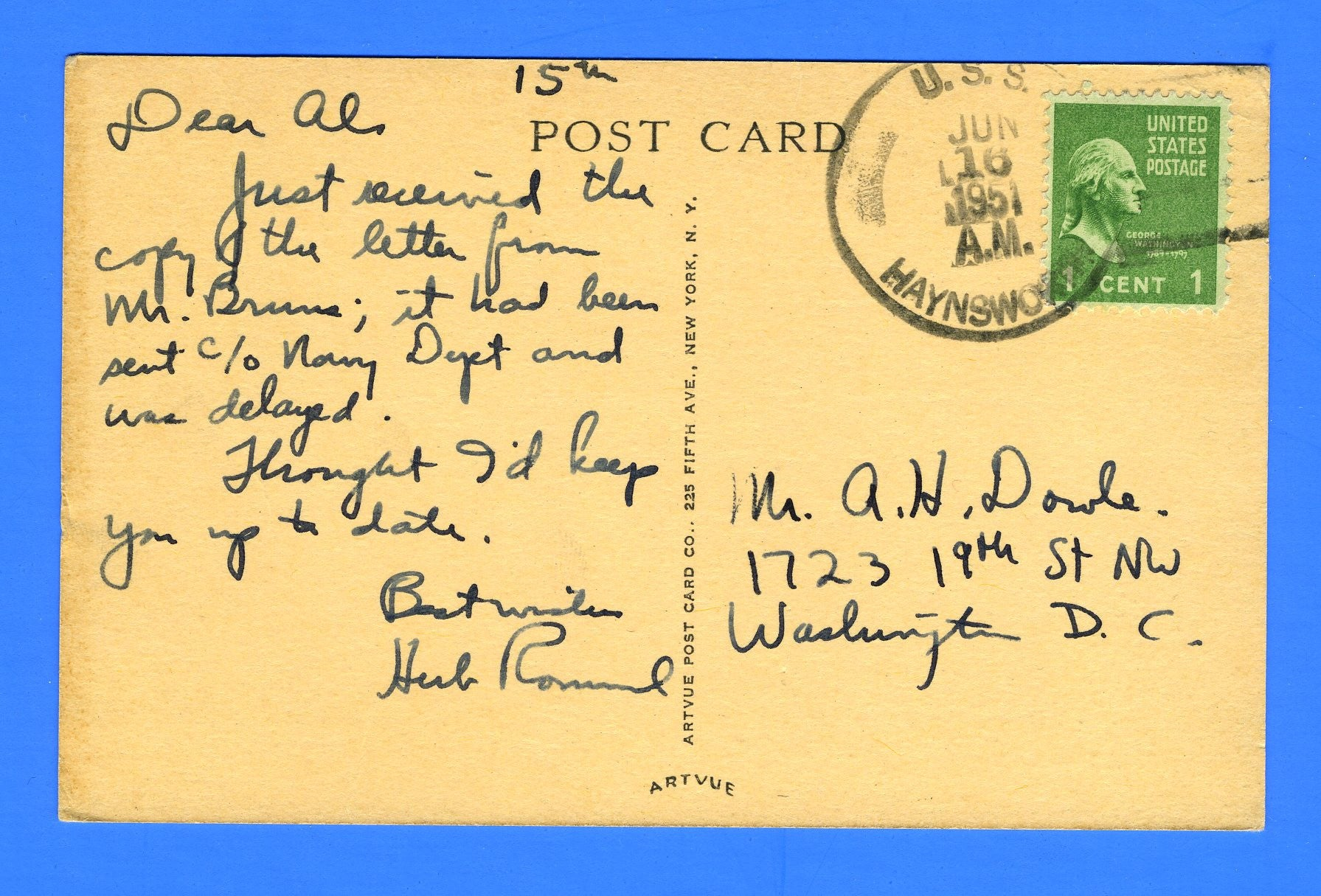 USS Haynsworth DD-700 Sailor's Mail June 16, 1951 - On Postcard of Haynsworth
